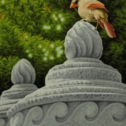 painting of cardinal standing on cement column