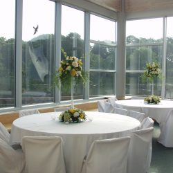 Banquet room with white wedding decor