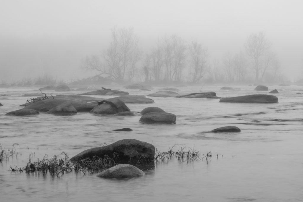 Black and White -Honorable Mention- Morning River Fog by Barbara Houston