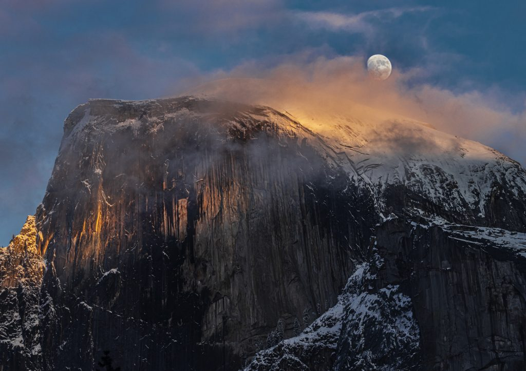 Natural Landscapes Honorable Mention Moonrise In Foggy Yosemite By Alton Marsh